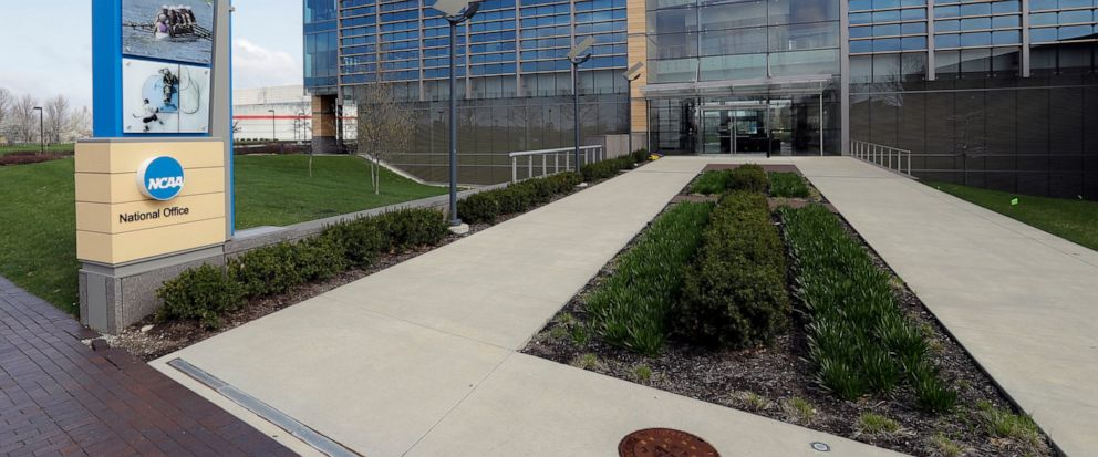 FILE - This is an April 25, 2018, file photo showing NCAA headquarters in Indianapolis. The NCAA wants a level playing field for all athletes, even if state law proposals threaten its longtime model for amateur sports. With the California assembly co
