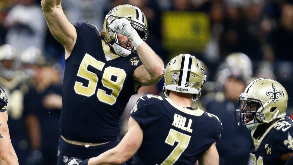 New Orleans Saints quarterback Taysom Hill (7) celebrates his first down  carry on a 3d8a924e6