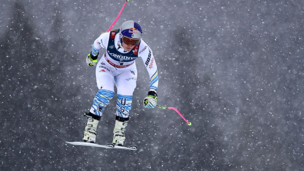 United States' Lindsey Vonn speeds down the course during the downhill portion of the women's combined, at the alpine ski World Championships in Are, Sweden, Friday, Feb. 8, 2019. (AP Photo/Marco Trovati)