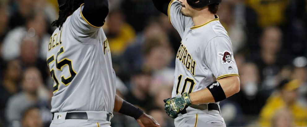 Pittsburgh Pirates Bryan Reynolds, right, is greeted by Josh Bell after hitting a two-run home run during the fourth inning of the teams baseball game against the San Diego Padres, Friday, May 17, 2019, in San Diego. (AP Photo/Gregory Bull)