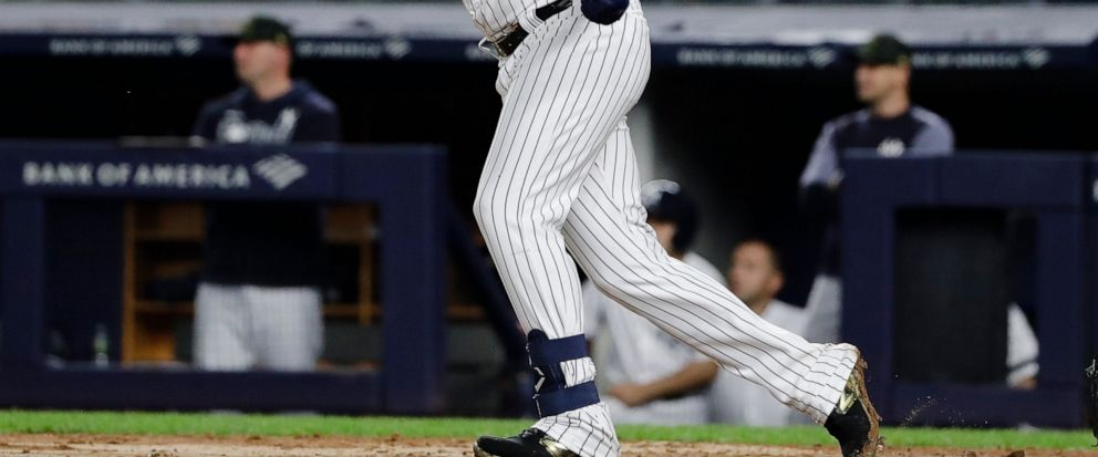 New York Yankees Gio Urshela follows through on a game-winning RBI single during the ninth inning of the teams baseball game against the Tampa Bay Rays on Friday, May 17, 2019, in New York. The Yankees won 4-3. (AP Photo/Frank Franklin II)