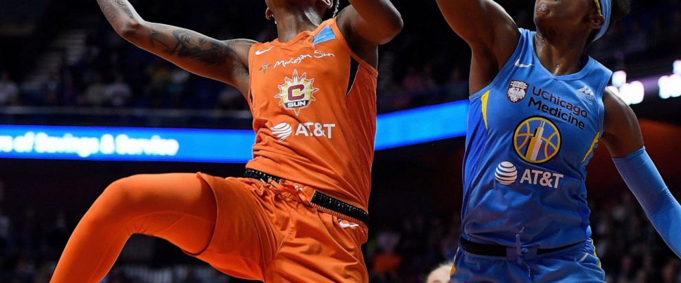 Connecticut Sun guard Courtney Williams puts up a shot around Chicago Sky guard Diamond DeShields in WNBA Eastern Conference action Friday, September 6, 2019 at Mohegan Sun Arena. The Sun dropped the 109-104 loss in overtime in their home season fina
