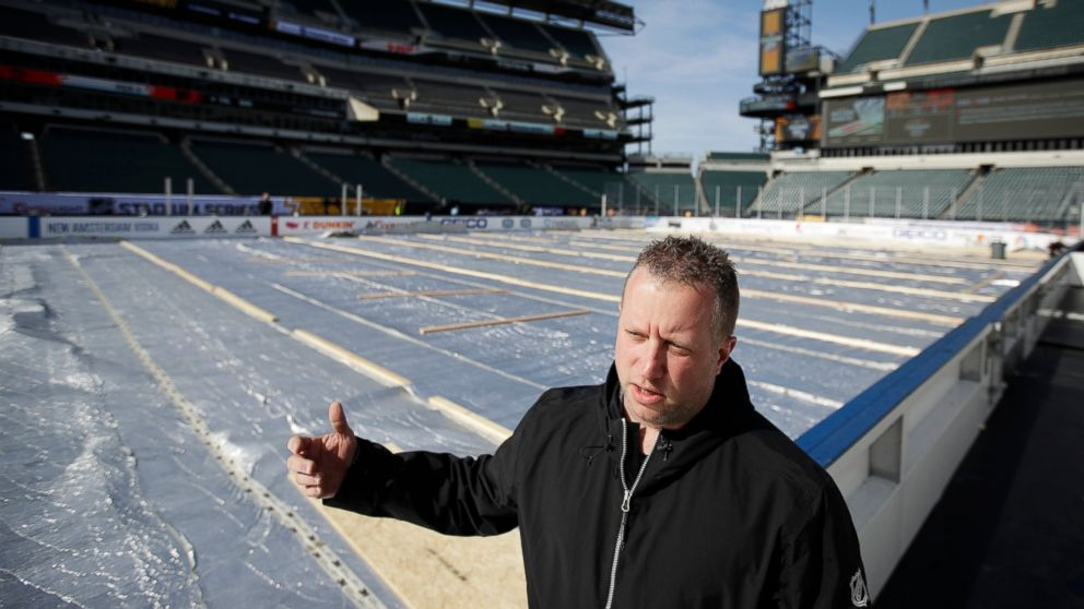 NHL senior manager of facilities operations and hockey operations Derek King speaks during an interview with The Associated Press ahead of the NHL Winter Classic hockey game between the Pittsburgh Penguins and Philadelphia Flyers, in Philadelphia, Thursday, Feb. 21, 2019. (AP Photo/Matt Rourke)