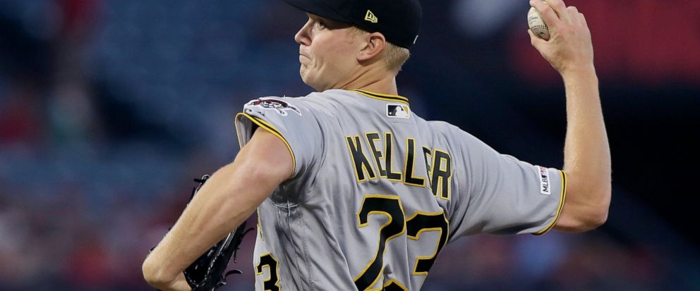 Pittsburgh Pirates starting pitcher Mitch Keller throws to a Los Angeles Angels batter during the first inning of a baseball game in Anaheim, Calif., Monday, Aug. 12, 2019. (AP Photo/Alex Gallardo)
