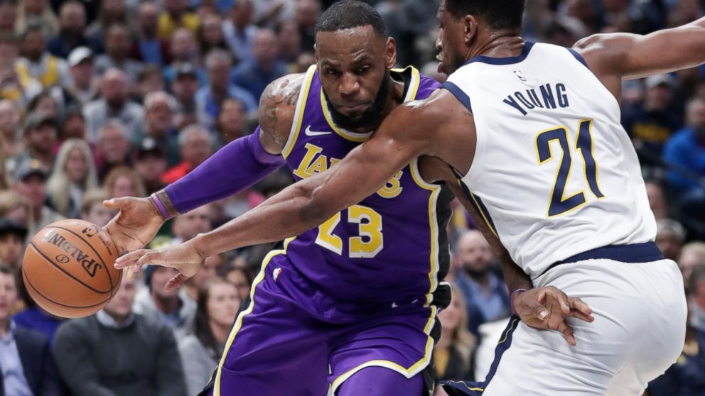 8b902b164 Los Angeles Lakers forward LeBron James (23) drives on Indiana Pacers  forward Thaddeus Young