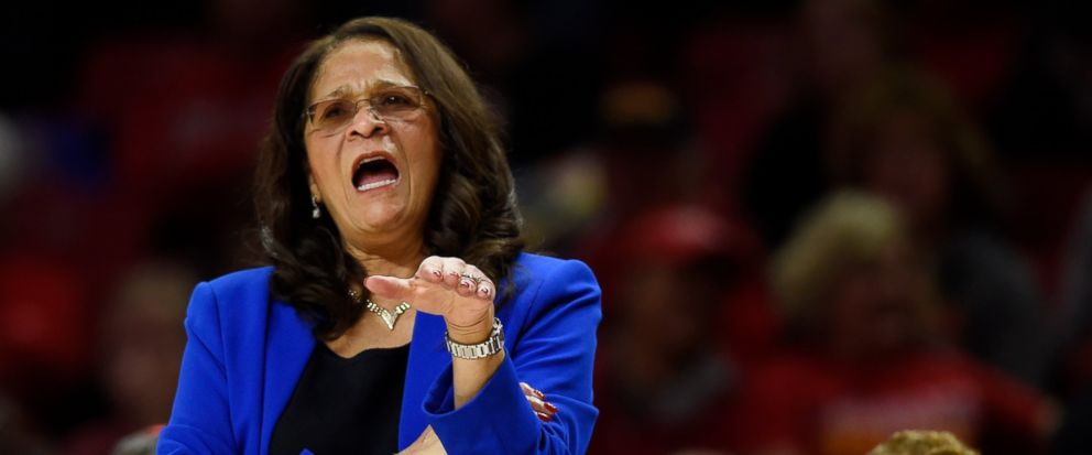 FILE - In this Dec. 31, 2018, file photo, Rutgers coach C. Vivian Stringer directs her team during the first half of a NCAA basketball game against Maryland in Baltimore. Stringer will not return for the postseason on the advice of doctors. The schoo