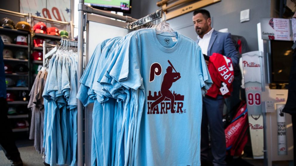 A customer shops for Philadelphia Phillies  Bryce Harper baseball apparel  at Citizens Bank Park in 892dad1f537