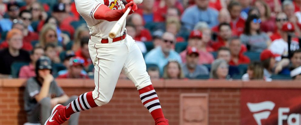 St. Louis Cardinals Tyler ONeill hits a two-run home run during the third inning of the teams baseball game against the Arizona Diamondbacks on Saturday, July 13, 2019, in St. Louis. (AP Photo/Jeff Roberson)