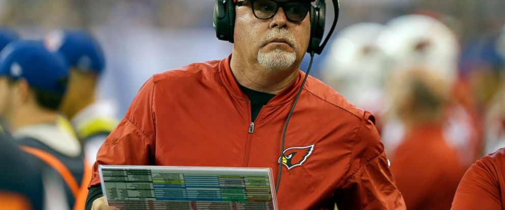 FILE - In this Sunday, Sept. 17, 2017 file photo, Arizona Cardinals head coach Bruce Arians watches during the first half of an NFL football game against the Indianapolis Colts in Indianapolis. Bruce Arians is the latest coach entrusted to transform