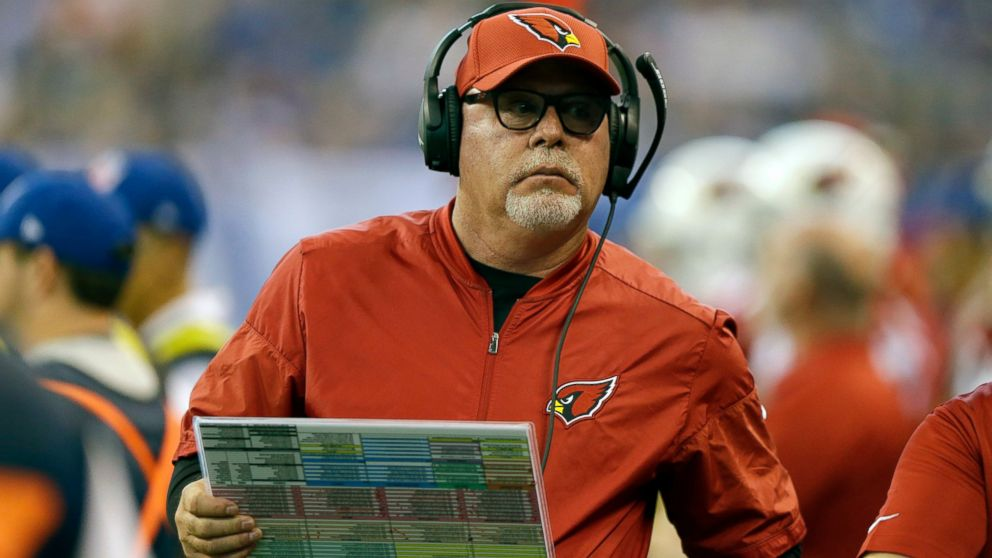 FILE - In this Sunday, Sept. 17, 2017 file photo, Arizona Cardinals head coach Bruce Arians watches during the first half of an NFL football game against the Indianapolis Colts in Indianapolis. Bruce Arians is the latest coach entrusted to transform the struggling Tampa Bay Buccaneers into winners. The 66-year-old came out of a one-year retirement to fill the team's fifth coaching vacancy in a decade. Arians replaces Dirk Koetter, who was dismissed Dec. 30, 2018 after leading the Bucs to 19 wins and no playoffs berths over the past three seasons. (AP Photo/Michael Conroy, File)