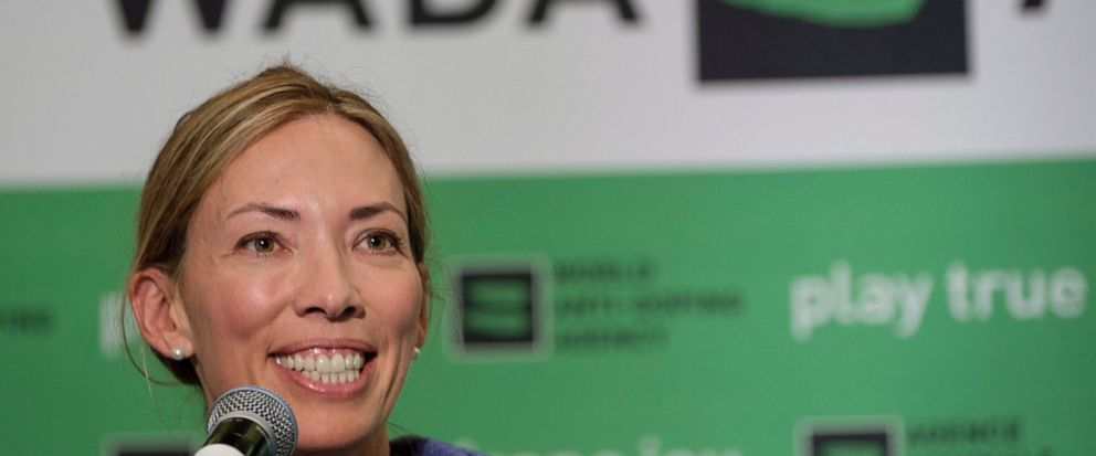 FILE - In this June 5, 2018, file photo, Beckie Scott speaks at a news conference following the World Anti-Doping Agencys first Global Athlete Forum in Calgary, Alberta. A law firm found no evidence that WADA members bullied Scott, though it conclud