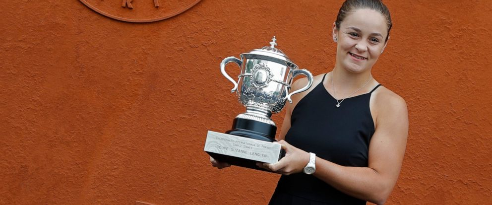 Australias Ashleigh Barty poses with the trophy during a photo call at the Roland Garros stadium in Paris, Sunday, June 9, 2019. Barty won the French Open tennis tournament womens final on Saturday June 8, 2019. (AP Photo/Michel Euler)