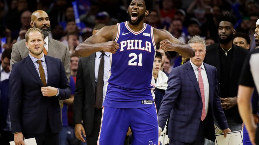 Joel Embiid Karl Anthony Towns Each Suspended 2 Games Abc News
