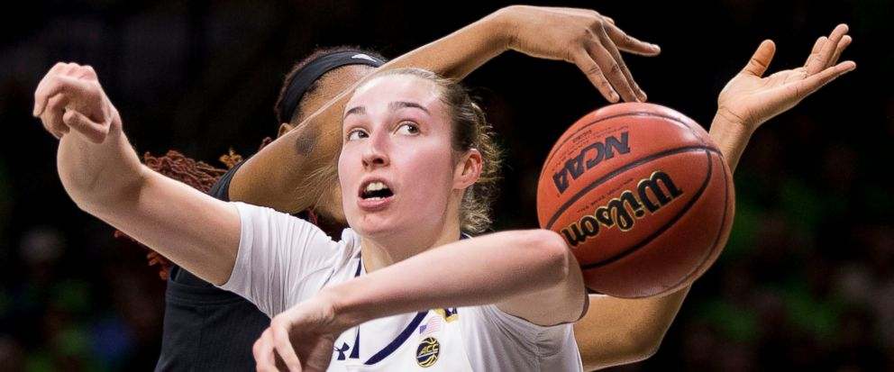 Notre Dames Jessica Shepard (32) has the ball knocked away from behind by Louisvilles Bionca Dunham during the first half of an NCAA college basketball game Thursday, Jan. 10, 2019, in South Bend, Ind. (AP Photo/Robert Franklin)