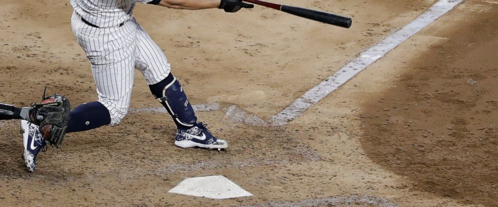 New York Yankees Gary Sanchez follows through on a single during the sixth inning of the teams baseball game against the Baltimore Orioles on Tuesday, Aug. 13, 2019, in New York. The Yankees won 8-3. (AP Photo/Frank Franklin II)