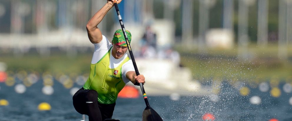 FILE - In this Saturday, Aug. 11, 2012 file photo, Lithuanias Jevgenij Shuklin competes in the mens canoe single 200-meter final at the 2012 Summer Olympics, in Eton Dorney, near Windsor, England. Olympic silver medalist Jevgenij Shuklin has been d