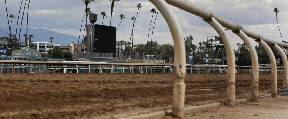 FILE - This March 7, 2019, file photo, shows the empty home stretch at Santa Anita Park in Arcadia, Calif. A filly broke both front legs at the end of a workout on the main dirt track at Santa Anita and has been euthanized, becoming the 22nd horse to