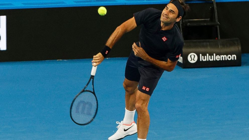 4115c950385 Roger Federer of Switzerland during his mixed doubles match with Belinda  Bencic