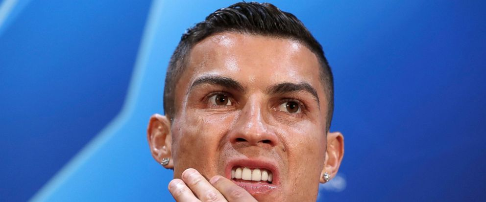FILE - In this Oct. 22, 2018, file photo, Juventus Cristiano Ronaldo attends a press conference at Old Trafford, Manchester. Ronaldo is being asked by police in the U.S. to provide a DNA sample in an ongoing investigation of a Nevada womans allegat
