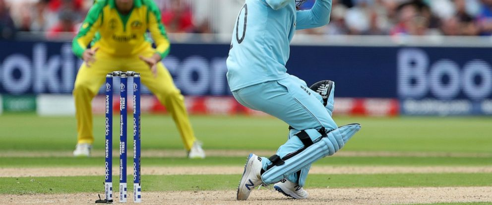 Englands Jason Roy evades a rising delivery by Australias Pat Cummins during the Cricket World Cup semi-final match between England and Australia at Edgbaston in Birmingham, England, Thursday, July 11, 2019. (AP Photo/Aijaz Rahi)