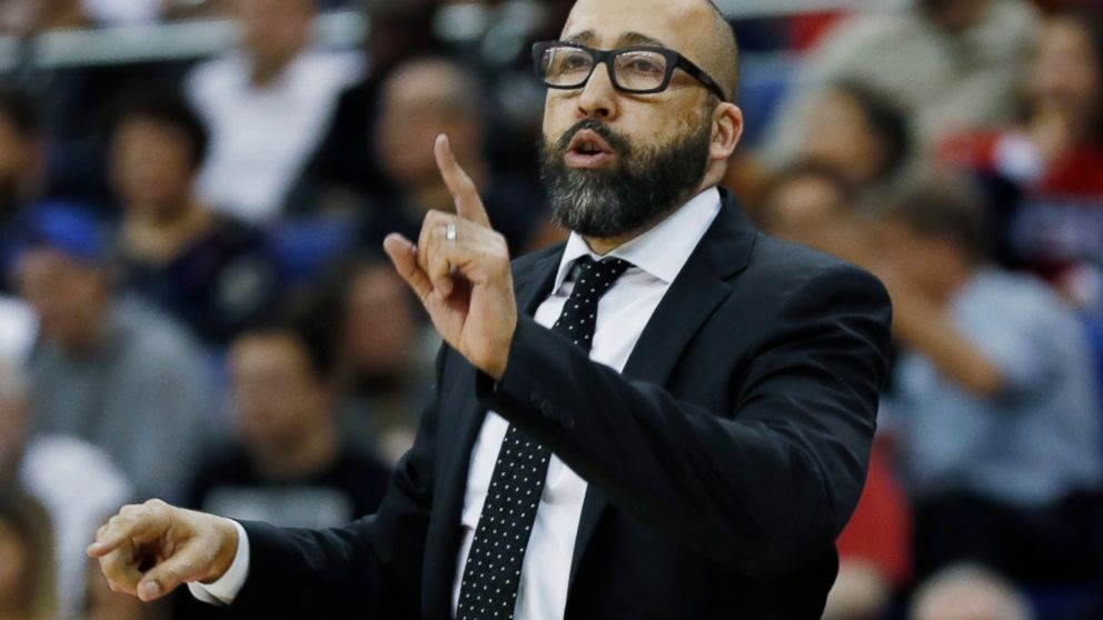 75933268cdc New York Knicks head coach David Fizdale gestures during an NBA basketball  game between New York