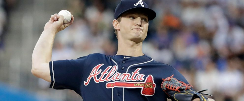 96a8f7b779763f Atlanta Braves Mike Soroka delivers a pitch during the first inning of a  baseball game against