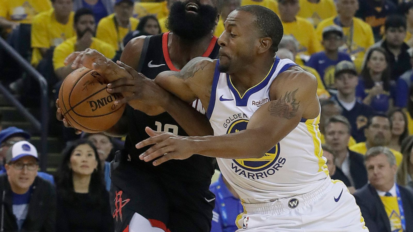 c017163d56e7 Officiating becomes focus of Warriors-Rockets Game 1 - ABC News