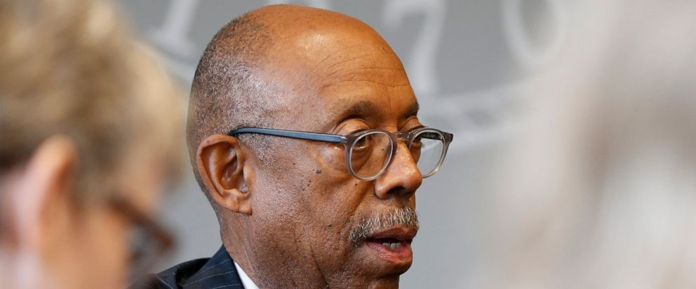 Ohio State University president Michael Drake answers questions during an interview about the accusations against former Ohio State team doctor Richard Strauss Friday, May 17, 2019, in Columbus, Ohio. An investigation found that Strauss sexually abus