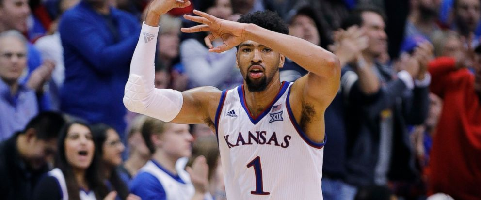 Kansas forward Dedric Lawson (1) reacts after hitting a three-point shot during the second half of an NCAA college basketball game against Texas Christian, Wednesday, Jan. 9, 2019, in Lawrence, Kan. Lawson scored 31 points in the the Jayhawks 77-68