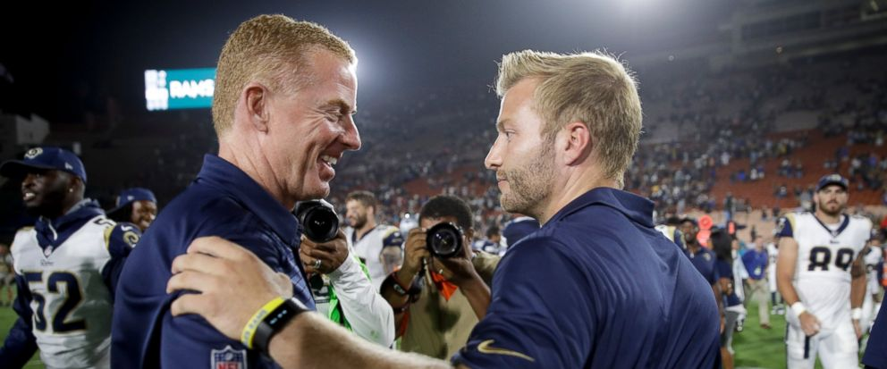 FILE - In this Aug. 12, 2017, file photo, Los Angeles Rams head coach Sean McVay , right, greets Dallas Cowboys head coach Jason Garrett, left, after a preseason NFL football game, in Los Angeles. The Rams and Cowboys meet in a divisional playoff gam