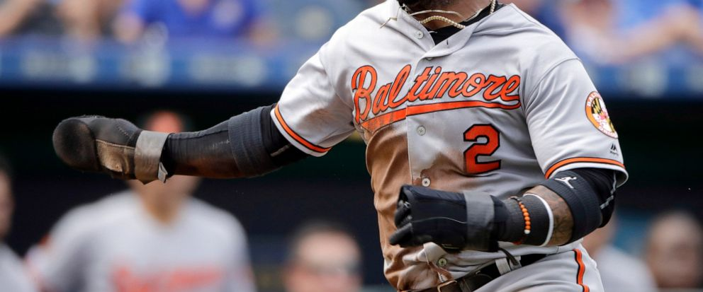 Baltimore Orioles Jonathan Villar runs home to score on a fielders choice hit into by Pedro Severino during the sixth inning of a baseball game against the Kansas City Royals, Sunday, Sept. 1, 2019, in Kansas City, Mo. (AP Photo/Charlie Riedel)