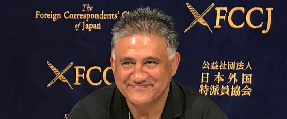 Japan head coach Jamie Joseph smiles while speaking during a press conference in Tokyo Friday, Aug. 30, 2019. Joseph has set an ambitious goal of reaching the quarterfinals when the 2019 Rugby World Cup begins in Japan next month. Currently ninth in