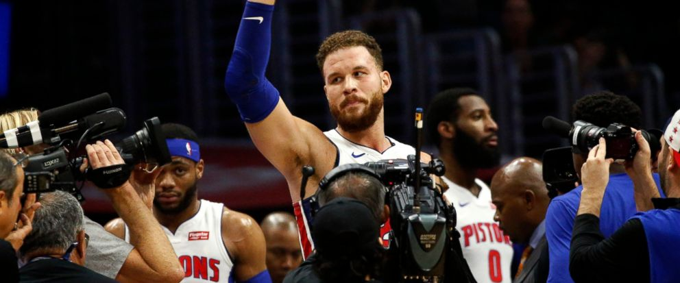 Detroit Pistons Blake Griffin waves to fans during the first half of an NBA basketball game against the Los Angeles Clippers, Saturday, Jan. 12, 2019, in Los Angeles. (AP Photo/Ringo H.W. Chiu)
