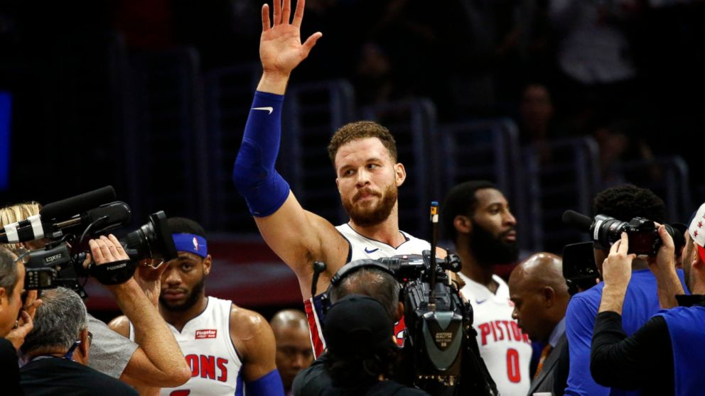 Detroit Pistons' Blake Griffin waves to fans during the first half of an NBA basketball game against the Los Angeles Clippers, Saturday, Jan. 12, 2019, in Los Angeles. (AP Photo/Ringo H.W. Chiu)