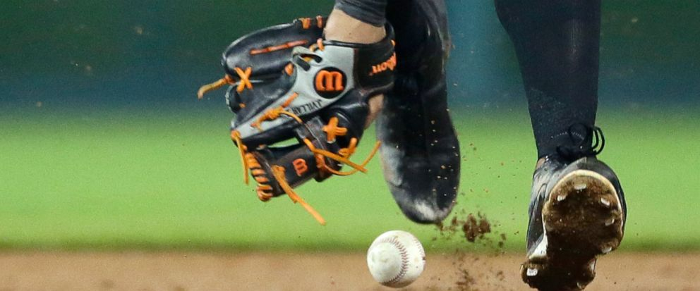 Baltimore Orioles shortstop Jonathan Villar misplays a grounder hit by Detroit Tigers Willi Castro for a single during the fifth inning of a baseball game Friday, Sept. 13, 2019, in Detroit. (AP Photo/Duane Burleson)