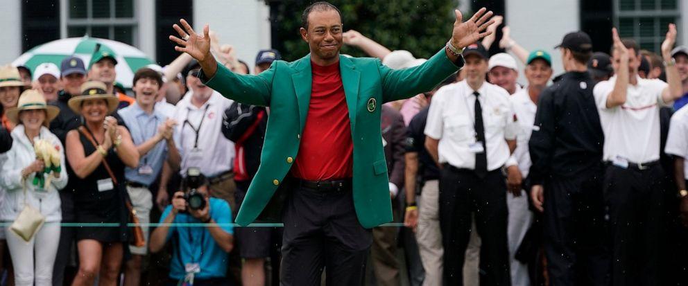 Tiger Woods celebrates after he won the Masters golf tournament Sunday, April 14, 2019, in Augusta, Ga. (AP Photo/David J. Phillip)