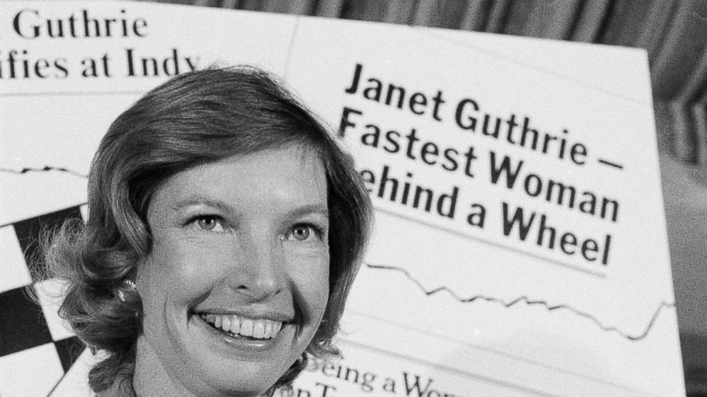 FILE - This April 6, 1978, file photo shows Janet Guthrie posing with a toy race car at a news conference in New York. Guthrie, the first woman to qualify and compete in both the Daytona 500 and the Indianapolis 500, was dropped from the list of nominees for NASCAR's Landmark Award that honors contribution to the sport. (AP Photo/Marty Lederhandler, File)