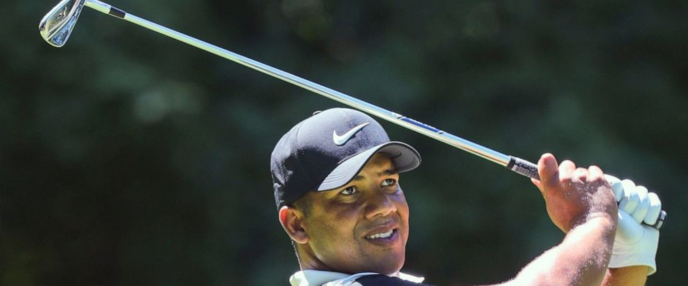 Jhonattan Vegas tees off on six during the second round of the John Deere Classic golf tournament Friday, July 12, 2019, in Silvis, Ill. (Andy Abeyta/Quad City Times via AP)