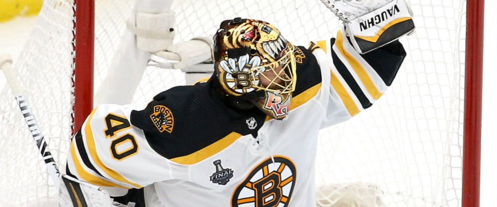 Boston Bruins goaltender Tuukka Rask, of Finland, gloves a shot against the St. Louis Blues during the second period of Game 6 of the NHL hockey Stanley Cup Final Sunday, June 9, 2019, in St. Louis. (AP Photo/Scott Kane)