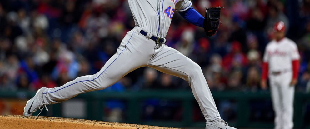 New York Mets starting pitcher Noah Syndergaard throws during the third inning of a baseball game against the Philadelphia Phillies, Monday, April 15, 2019, in Philadelphia. (AP Photo/Derik Hamilton)