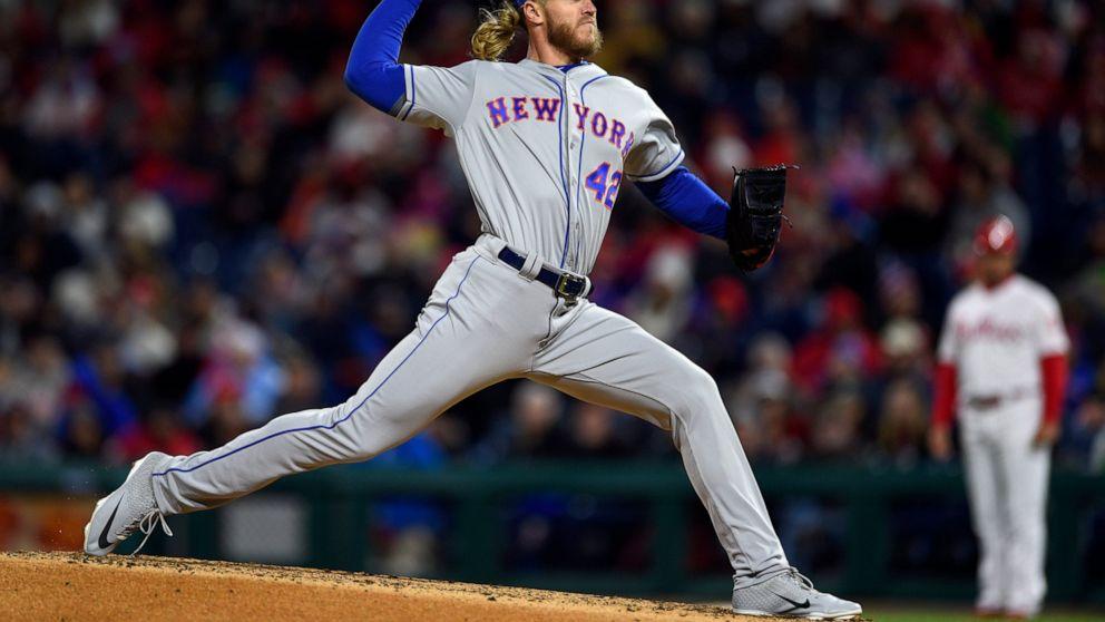 New York Mets starting pitcher Noah Syndergaard throws during the third inning of a baseball game against the Philadelphia Phillies, Monday, April 15, 2019, in Philadelphia. (AP Photo/Derik Hamilton)