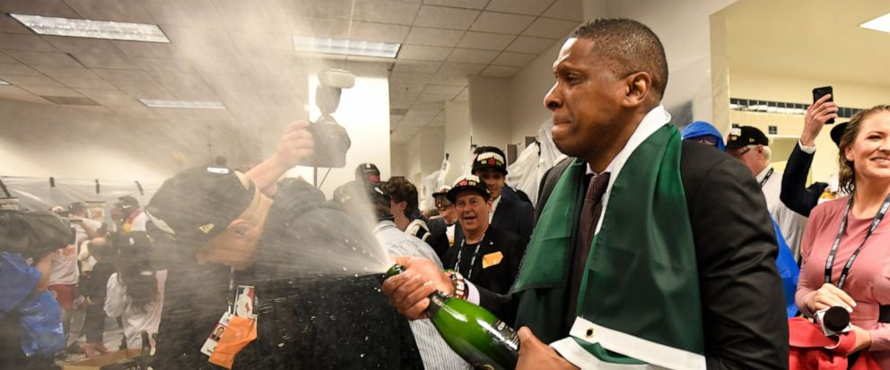 Toronto Raptors President Masai Ujiri celebrates after the teams 114-110 win over the Golden State Warriors in Game 6 of basketball's NBA Finals, Thursday, June 13, 2019, in Oakland, Calif. (Frank Gunn/The Canadian Press via AP)