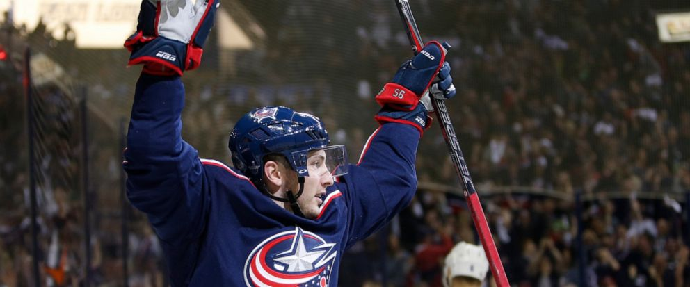 Columbus Blue Jackets Matt Duchene celebrates his goal against the Tampa Bay Lightning during the second period of Game 3 of an NHL hockey first-round playoff series Sunday, April 14, 2019, in Columbus, Ohio. (AP Photo/Jay LaPrete)