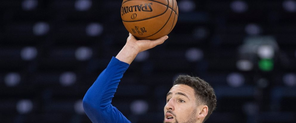 Golden State Warriors Klay Thompson shoots at practice for the NBA Finals in Oakland on Wednesday, June 12, 2019. The Warriors are scheduled to play the Toronto Raptors in Game 6 of basketballs NBA Finals on Thursday. (Frank Gunn/The Canadian Press