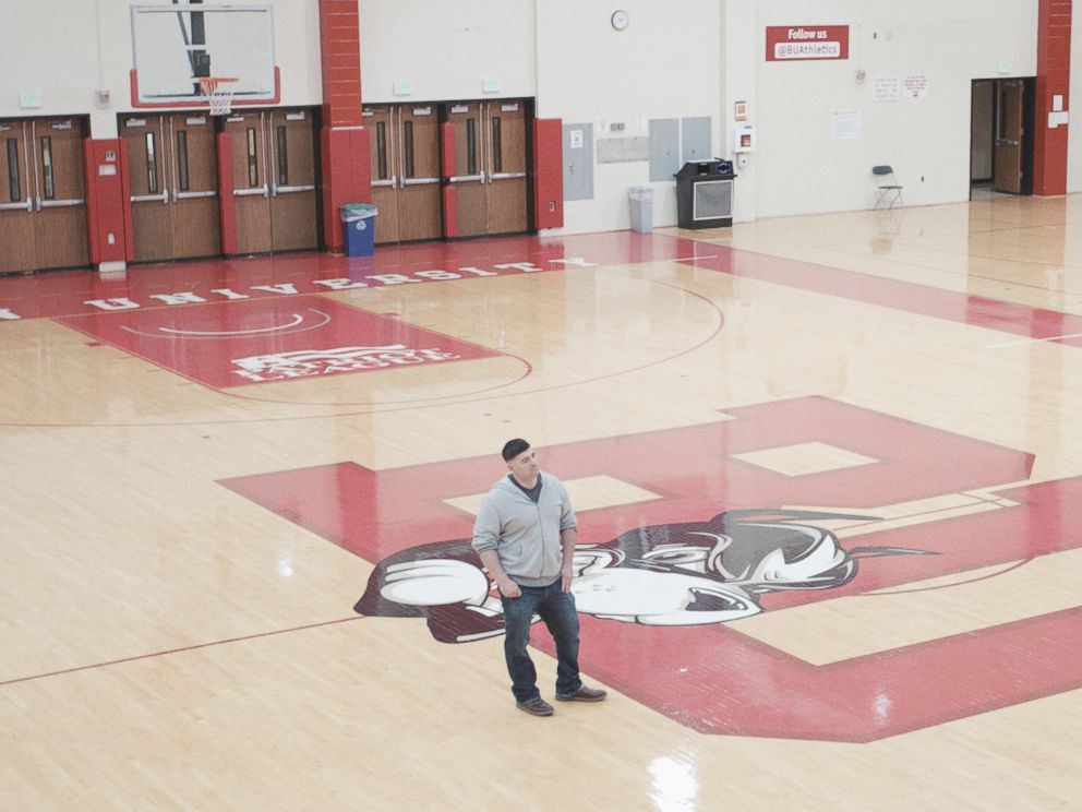 PHOTO: Sam Perkins inside Boston Universitys Case Gym.