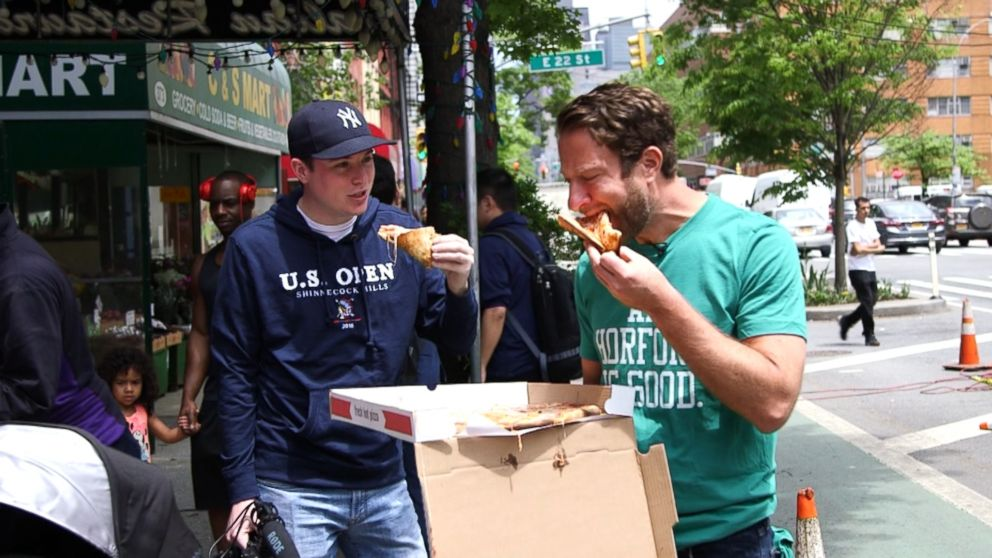 Dave Portnoy, known to Stoolies and staffers alike as El Presidente, is seen here doing a pizza review.