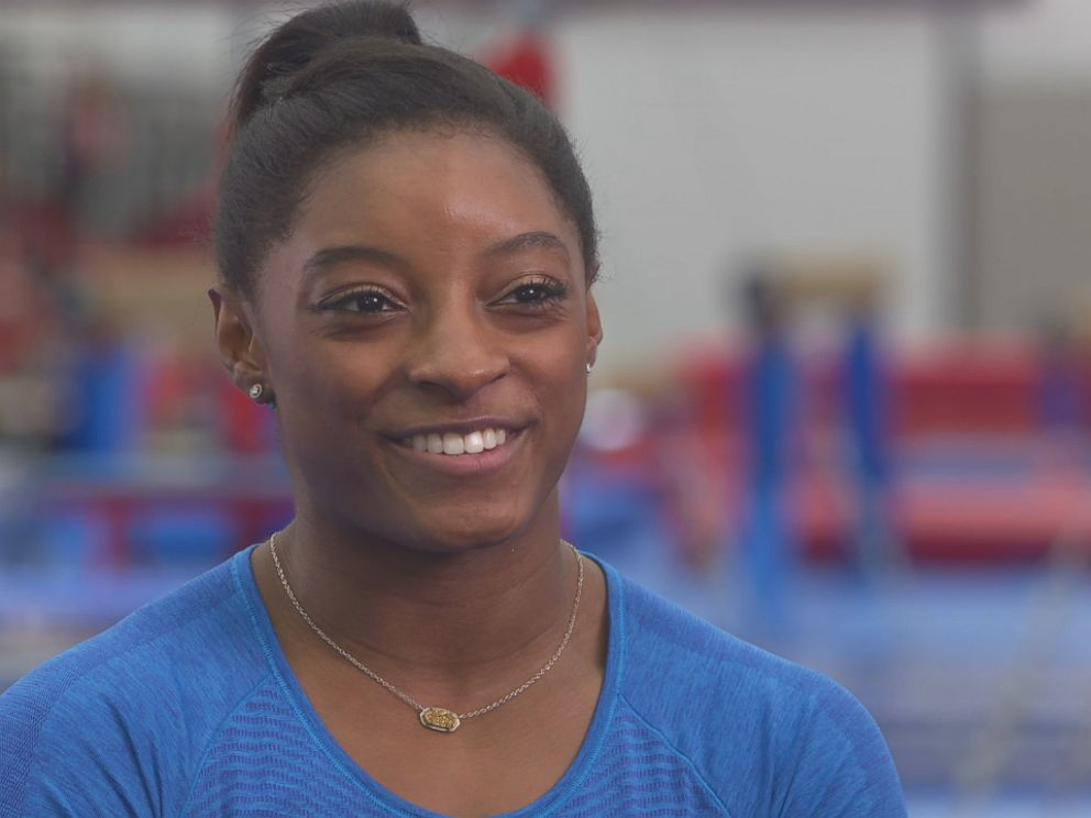 Simone Biles, a member of the U.S. Olympic Womens Gymnastics team, is seen here during an interview with ABC News Nightline.