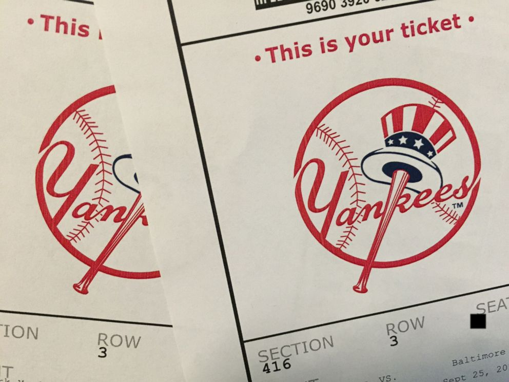 PHOTO: Two tickets to the New York Yankees versus the Baltimore Orioles at Yankee Stadium on Sept. 25, 2014.