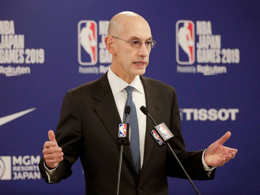PHOTO: NBA Commissioner Adam Silver speaks at a news conference before an NBA preseason basketball game between the Houston Rockets and the Toronto Raptors, Oct. 8, 2019, in Saitama, near Tokyo.