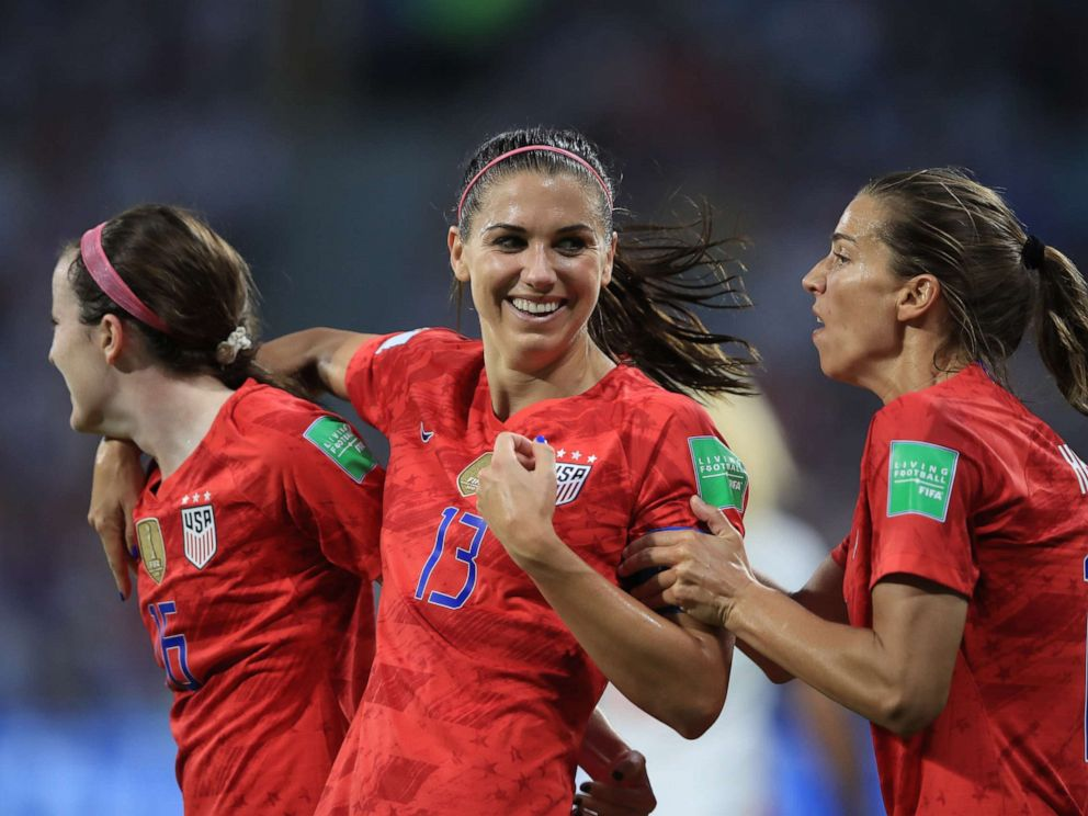 PHOTO: Alex Morgan of the United States celebrates scoring their 2nd goal during the 2019 FIFA Womens World Cup France Semi Final match between England and USA at Stade de Lyon on July 2, 2019, in Lyon, France.